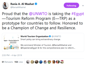 Mashat's Comment on UNWTO Commendation
