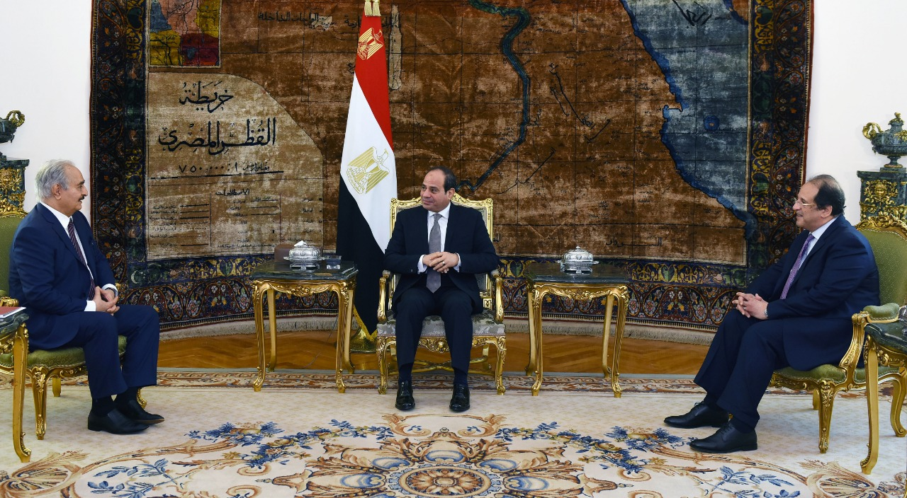 Egypt's President Abdel Fattah El Sisi Meets with Libya's National Army Commander Khalifa Haftar in Cairo on April 14, 2019- Press Photo