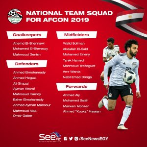 Egypt's 23-man final squad for 2019 AFCON