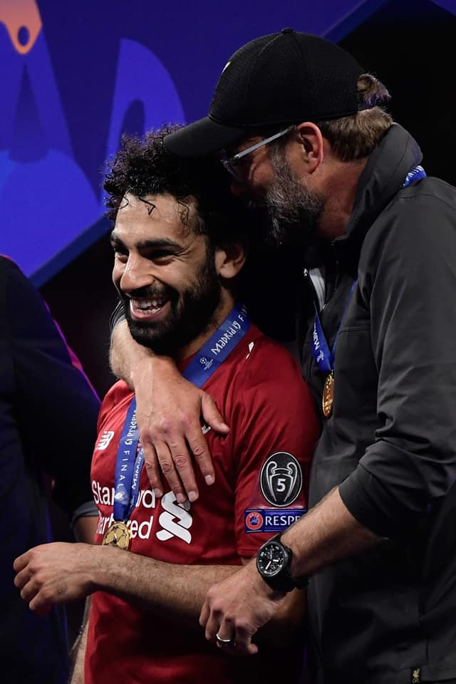 Jurgen Klopp and Mohamed Salah after Claiming Uefa Champions League title