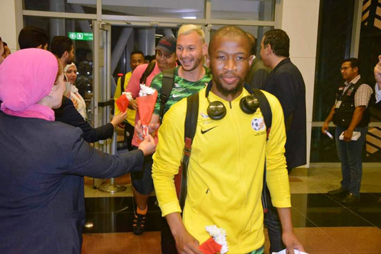 Public relations at Cairo International Airport and Egypt Air received South Africa's football team with flowers.