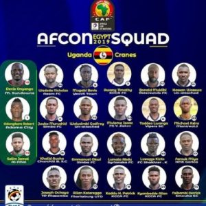 Uganda Final Squad for 2019 AFCON