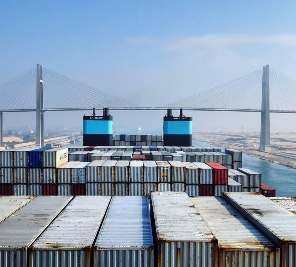 Goods pass from Suez Canal
