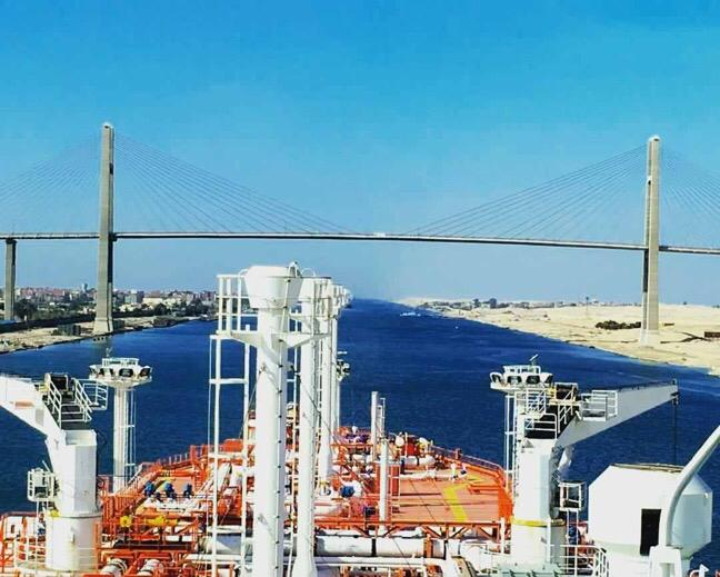 The water of Suez Canal and its bridge