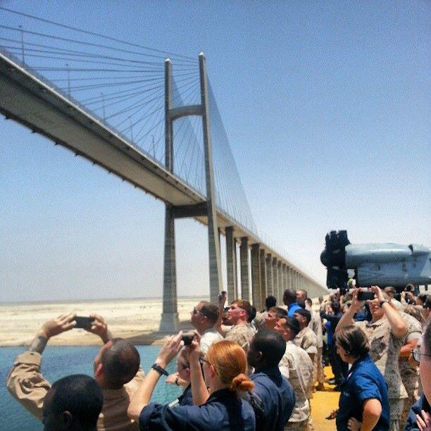 Taking photos to the Suez Canal Bridge