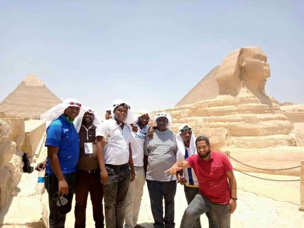 Fans take photos with sphinx