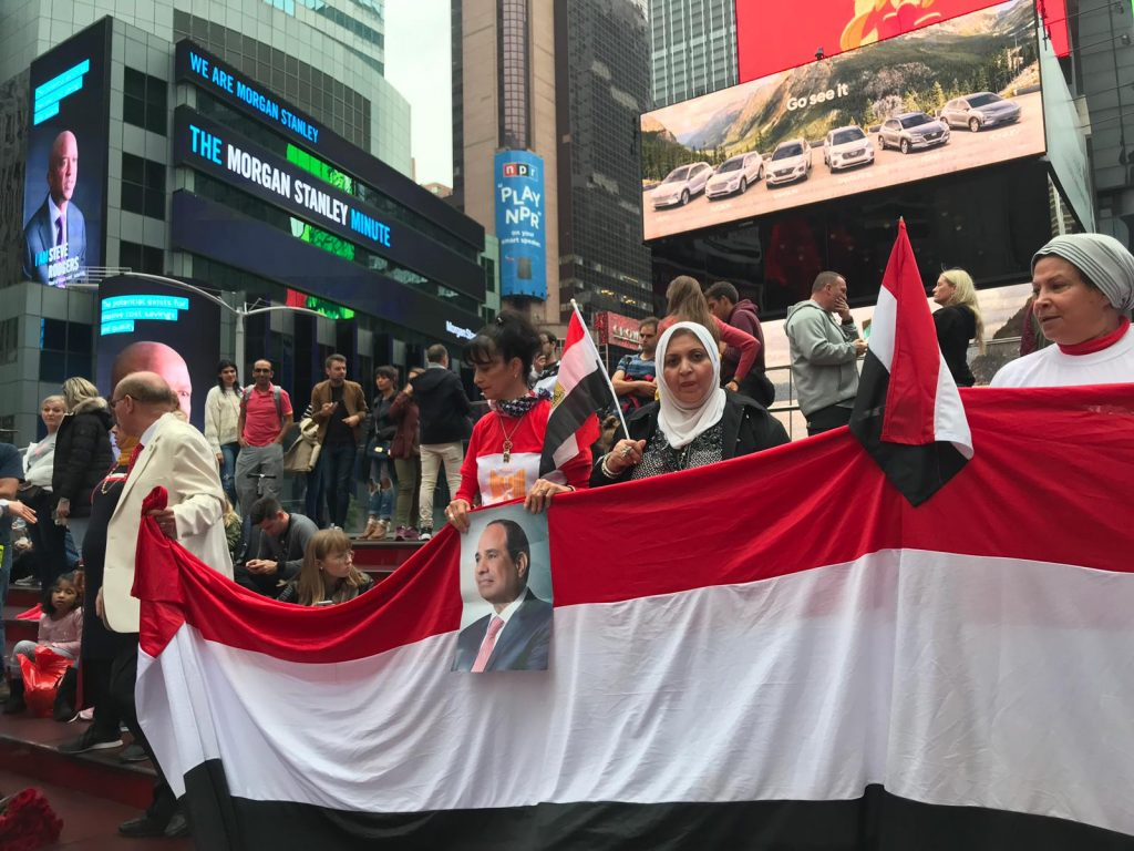 Egyptian expatriates in USA celebrating the October War Victory at the UK's Times Square- SEE News