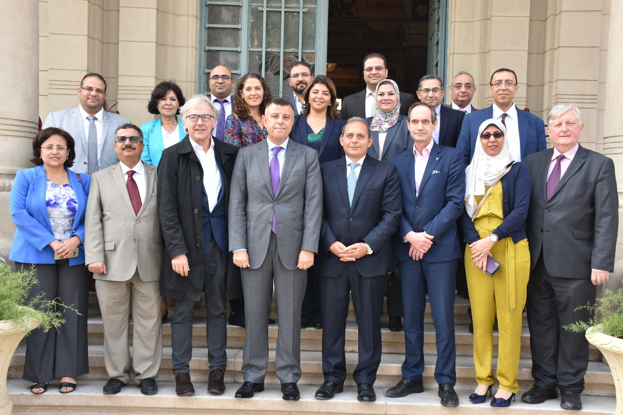 The signing was attended by Mr. Hesham Okasha, Chairman of the National Bank of Egypt, Mr. Oliver Richard, a representative from the British Embassy in Cairo, Prof. Ayman Saleh, Director General of Ain Shams University Hospitals, and a number of prof. Drs. of Cardiothoracic and Cardiovascular Surgery.