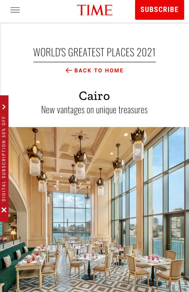 Cairo named to Time Magazine's list of World's 100 Greatest Places 2021